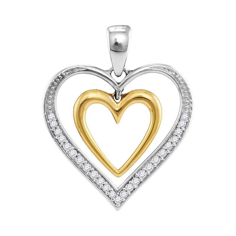 Gold-N-Diamonds, Inc. (Atlanta) 10kt Two-tone Gold Womens Round Diamond Dangling Nested Heart Love Pendant 1/10 Cttw