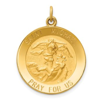 14k Solid Polished/Satin Medium Round St. Michael Medal