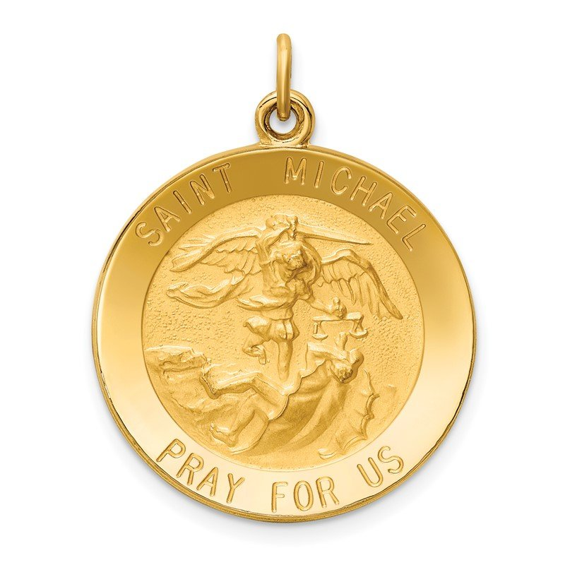 Quality Gold 14k Solid Polished/Satin Medium Round St. Michael Medal