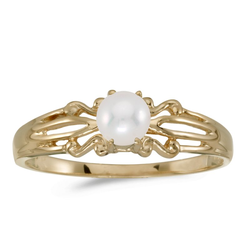 Color Merchants 10k Yellow Gold Freshwater Cultured Pearl Ring