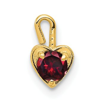 14ky July Synthetic Birthstone Heart Charm