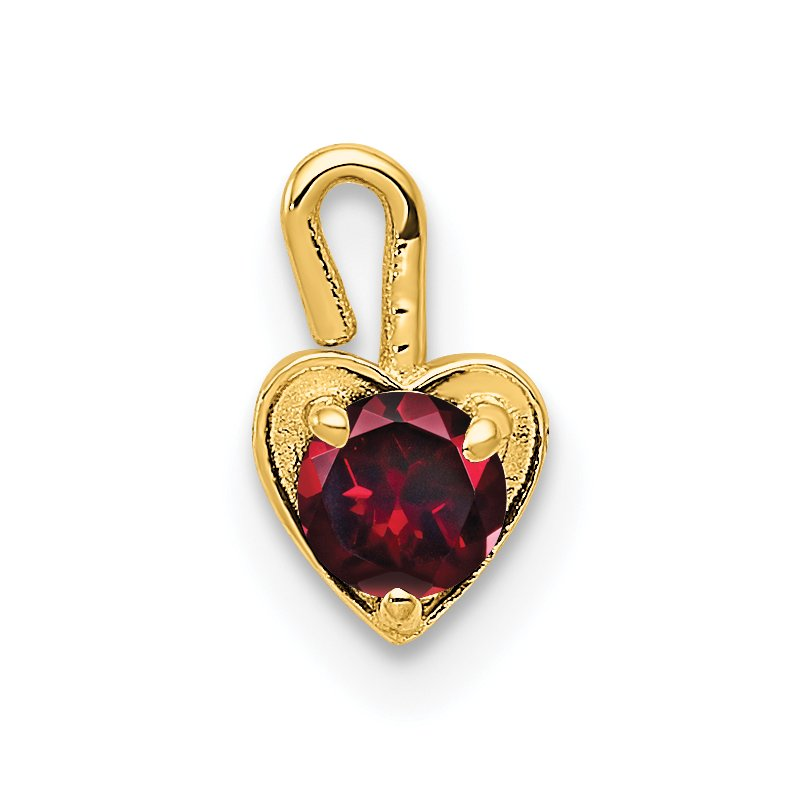 Quality Gold 14ky July Synthetic Birthstone Heart Charm