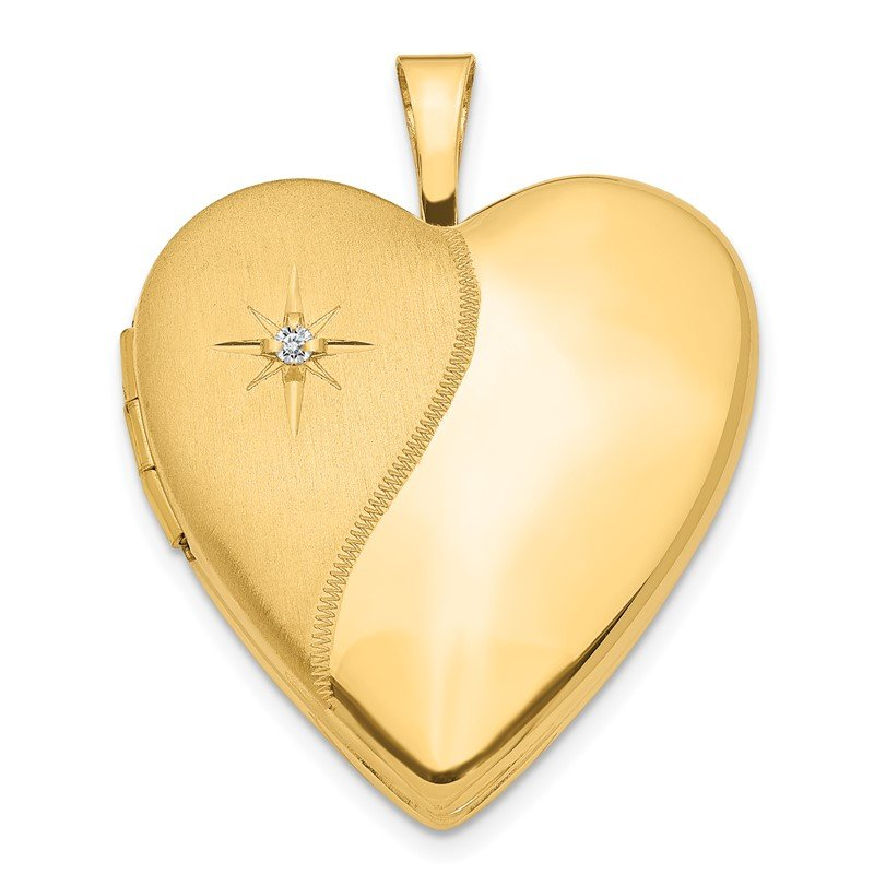 Quality Gold 14K 20mm Diamond Polished and Satin Heart Locket