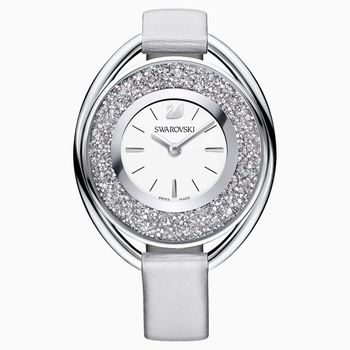 Crystalline Oval Watch, Fabric strap, Gray, Silver tone
