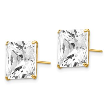 14k 11mm Square CZ Post Earrings