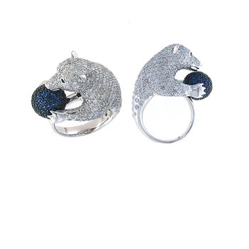 18Kt Gold Diamond And Sapphire Polar Bear Ring