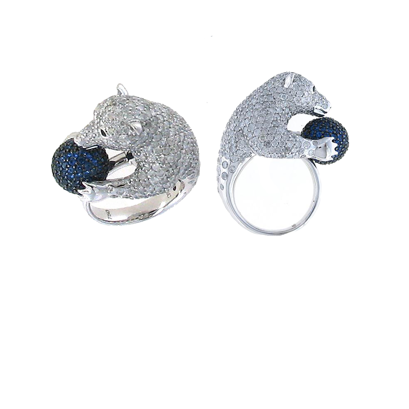 Roberto Coin 18Kt Gold Diamond And Sapphire Polar Bear Ring