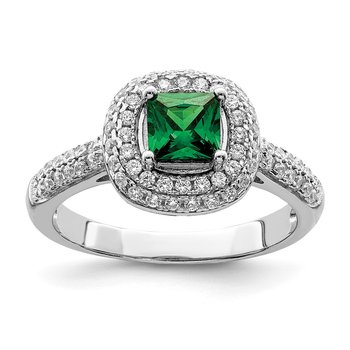 Sterling Silver Rhodium-plated White & Green CZ Ring