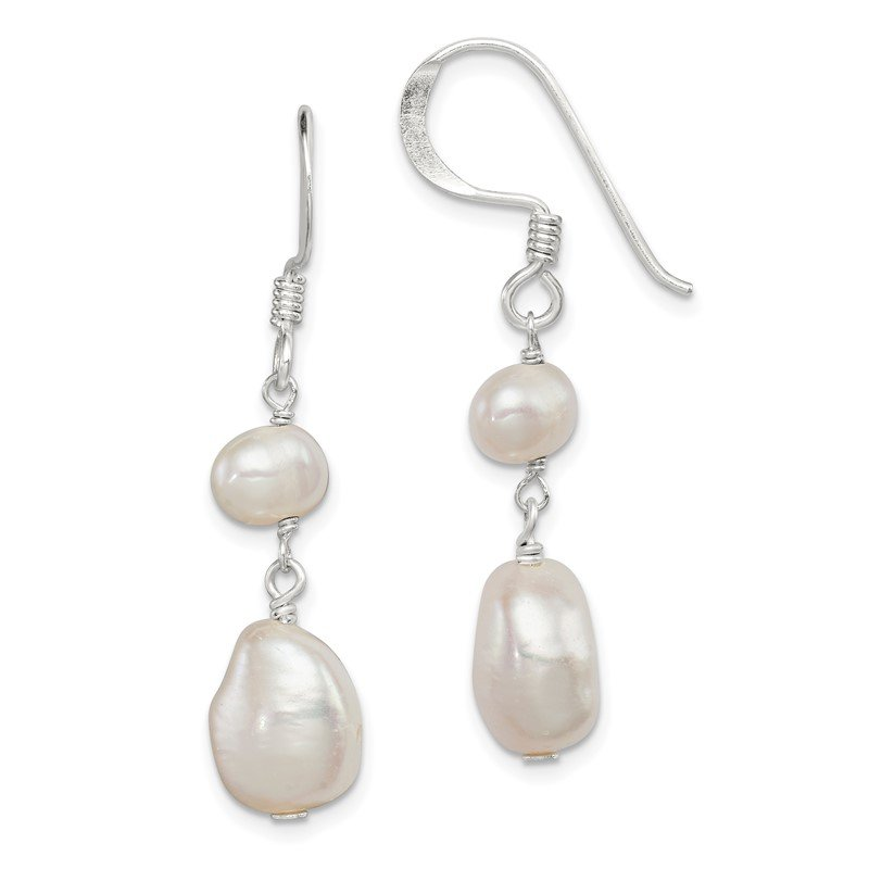 Quality Gold Sterling Silver White FW Cultured Pearl Dangle Earrings
