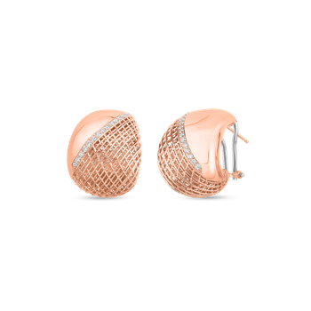 #28481 Of 18Kt Gold Tapered Earrings With Diamonds