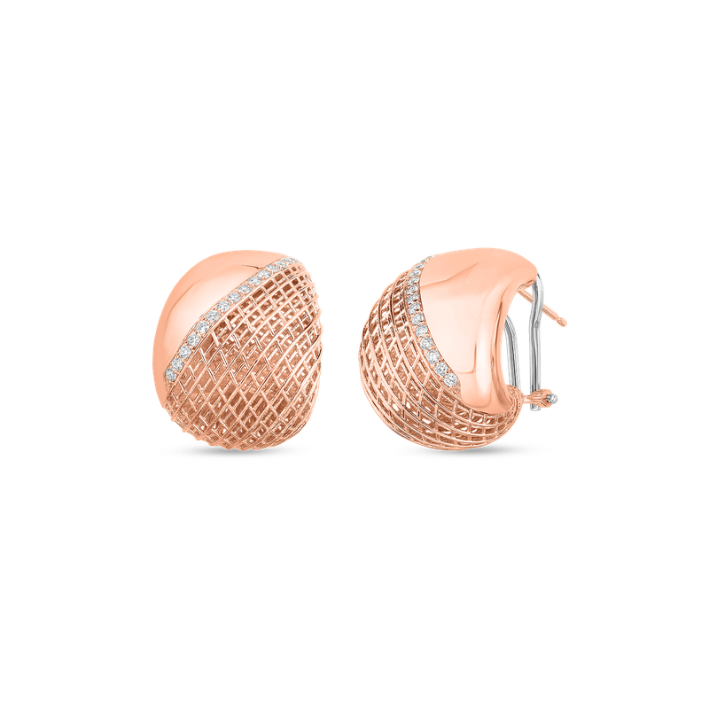 Roberto Coin  #28481 Of 18Kt Gold Tapered Earrings With Diamonds