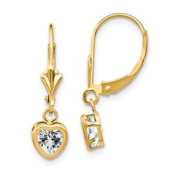 14k 5mm Heart Cubic Zirconia Earrings