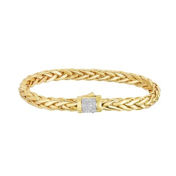 14K Gold Woven Large Diamond Pave Lock Bracelet
