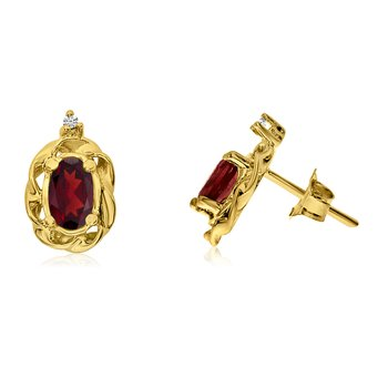 14k Yellow Gold Garnet Scroll Diamond Earrings