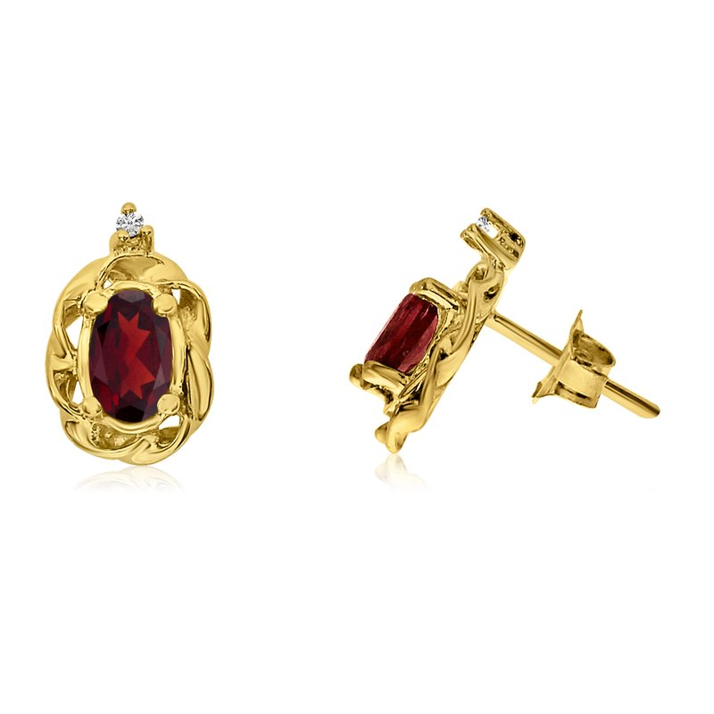 Color Merchants 14k Yellow Gold Garnet Scroll Diamond Earrings