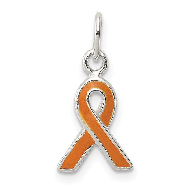 Quality Gold Sterling Silver Orange Enameled Awareness Charm