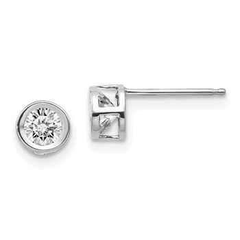 14k White Gold 4mm Bezel April/White Topaz Post Earrings