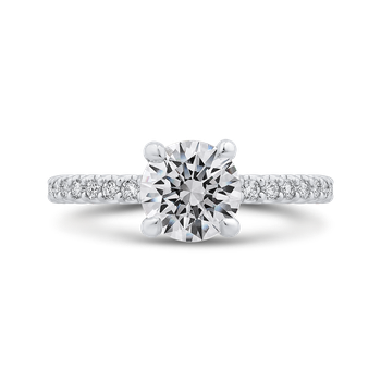 Round Cut Diamond Classic Engagement Ring In 18K White Gold (Semi-Mount)
