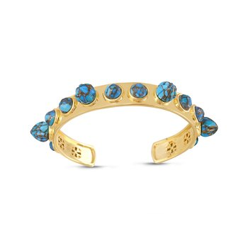 LuvMyJewelry Sea Breeze Turquoise Cuff in Sterling Silver & 14 KT Yellow Gold Plating