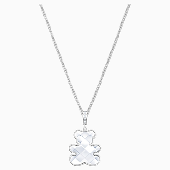 Teddy Pendant, White, Rhodium plated