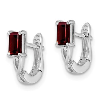Sterling Silver Rhodium Plated Garnet Hinged Hoop Earrings