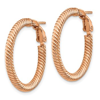 14k 3x20mm Rose Gold Twisted Round Omega Back Hoop Earrings