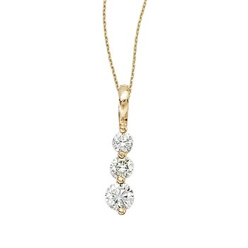 14k Yellow Gold 0.50 Ct Three Stone Diamond Pendant