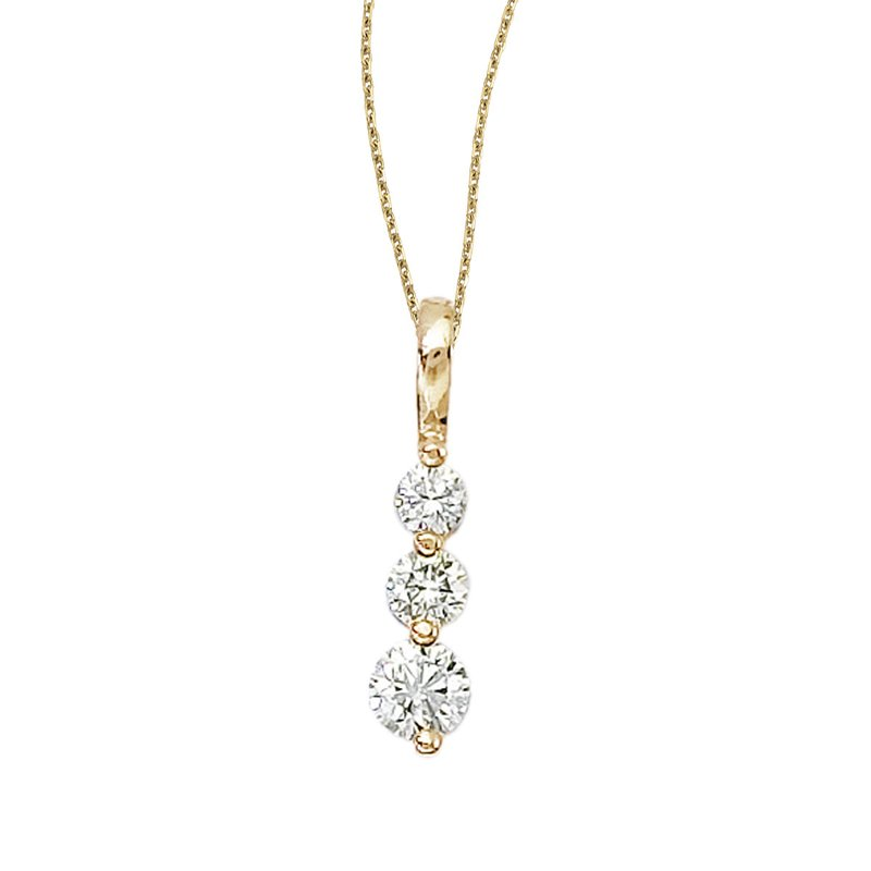 Color Merchants 14k Yellow Gold 0.50 Ct Three Stone Diamond Pendant