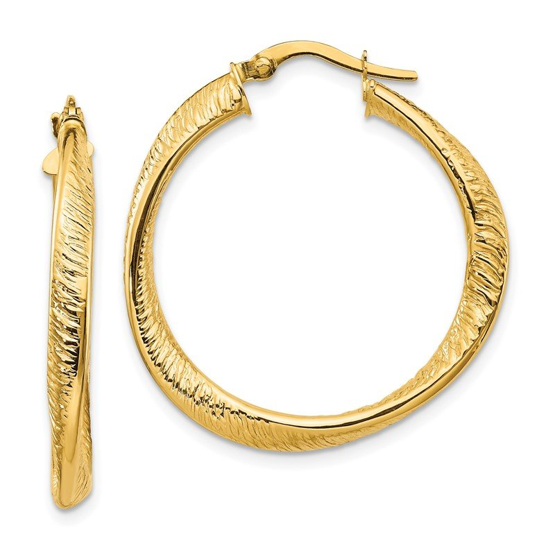 Lester Martin Online Collection 14k Polished and Textured Twisted Hoop Earrings
