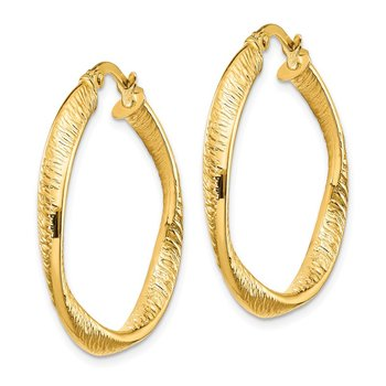 14k Polished and Textured Twisted Hoop Earrings