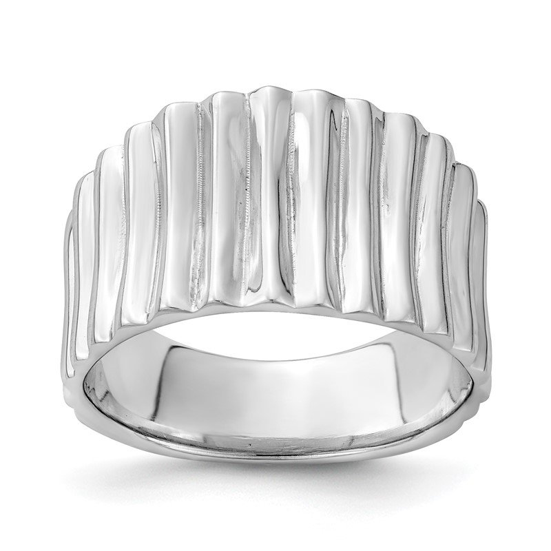 Quality Gold Sterling Silver Rhodium-plated Polished Ridged Ring
