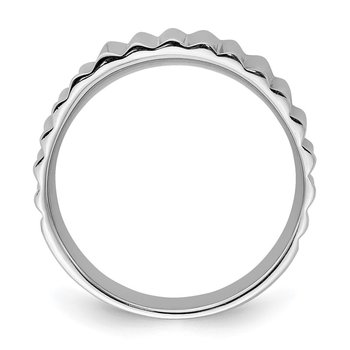 Sterling Silver Rhodium-plated Polished Ridged Ring