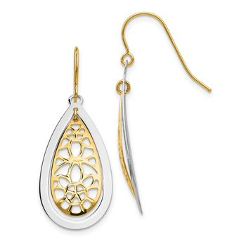 14k Two-tone Diamond Cut Polished Fancy Dangle Earrings