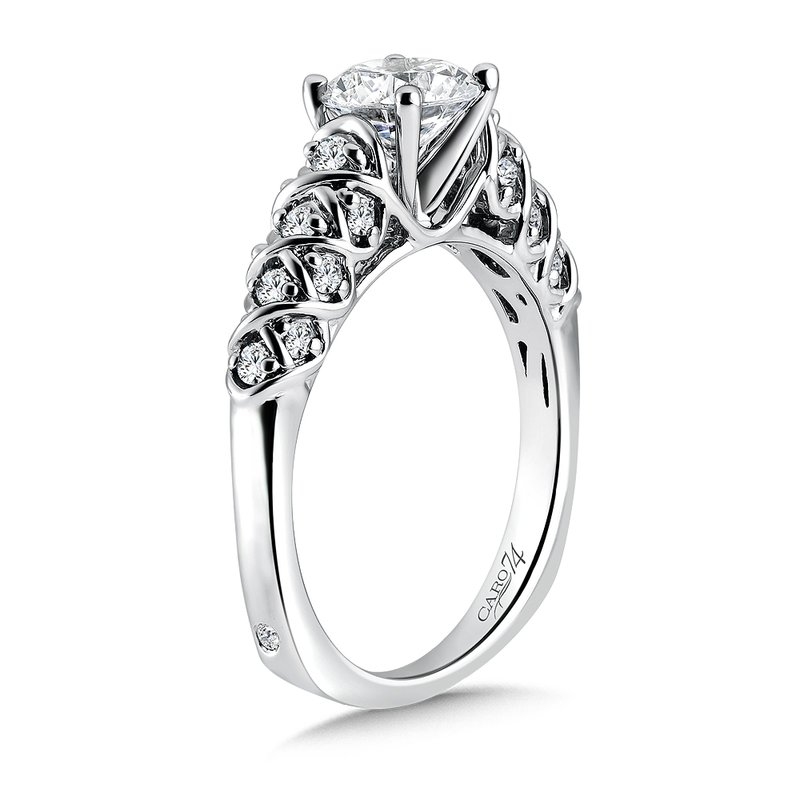 Caro74 Classic Elegance Collection Engagement Ring With Diamond Side Stones in 14K White Gold with Platinum Head (1ct. tw.)