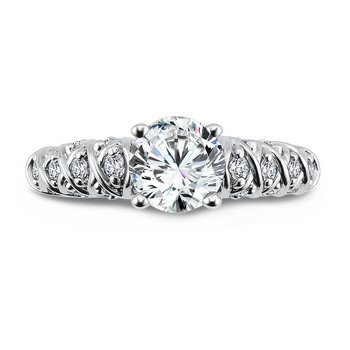 Classic Elegance Collection Engagement Ring With Diamond Side Stones in 14K White Gold with Platinum Head (1ct. tw.)