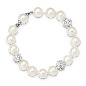 Sterling Silver Majestik Rhod-plated 10-11mm Shell Crystal Bracelet