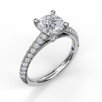 Double Row Diamond Engagement Ring