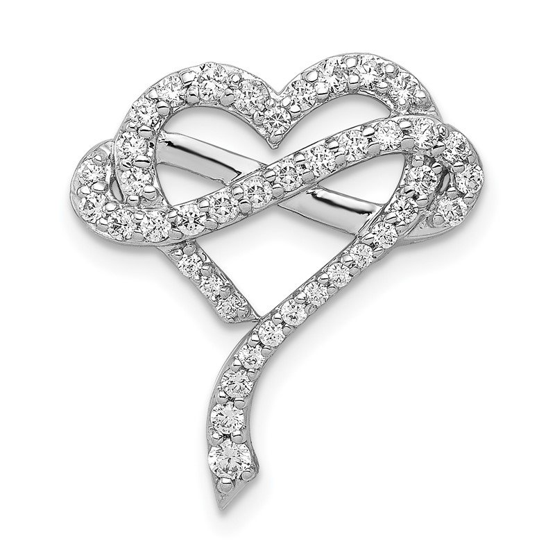 Quality Gold 14k White Gold 1/2ct. Diamond Infinity and Heart Chain Slide
