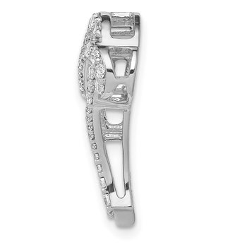 14k White Gold 1/2ct. Diamond Infinity and Heart Chain Slide