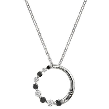 14kt White and Black Diamond Journey Pendant
