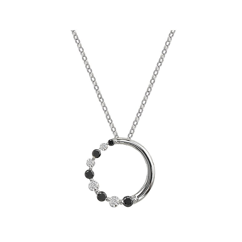 Tesoro 14kt White and Black Diamond Journey Pendant