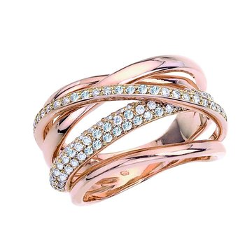 Rose Gold Weaving Fashion Ring with Diamonds