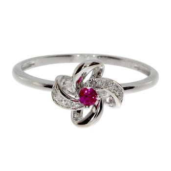 14k White Gold Ruby and Single Cut Diamond Flower Ring