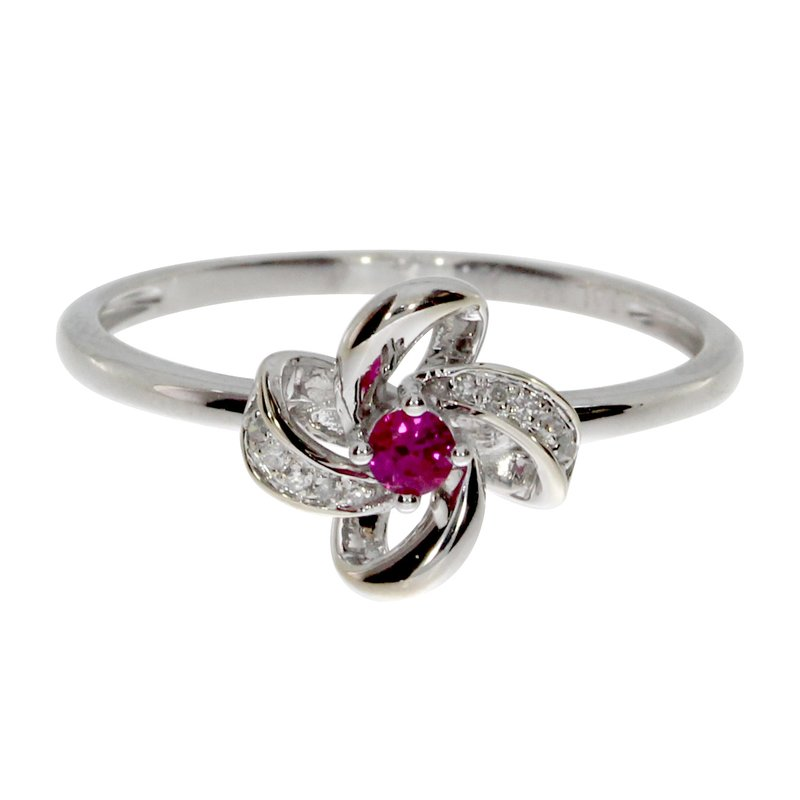Color Merchants 14k White Gold Ruby and Single Cut Diamond Flower Ring