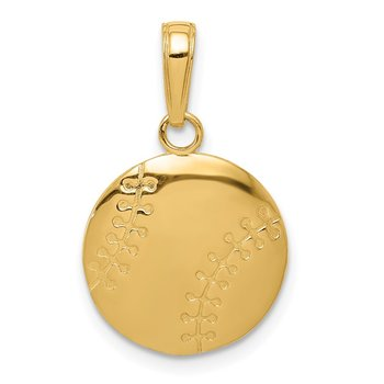 14K Gold Polished Baseball Closed Back Pendant
