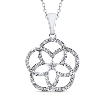 7/8 ct White Diamond 10K White Gold Fashion Flower Pendant with Chain