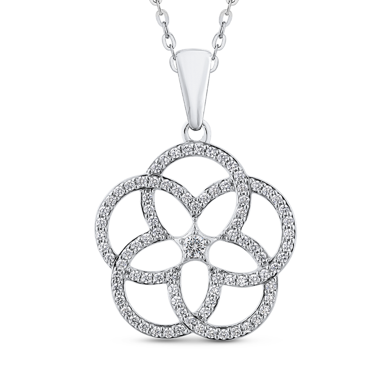 Essentials 7/8 ct White Diamond 10K White Gold Fashion Flower Pendant with Chain