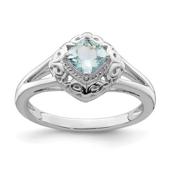 Sterling Silver Rhodium Aquamarine Square Ring