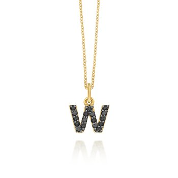 "Black Diamond Baby Block Initial ""W"" Necklace"