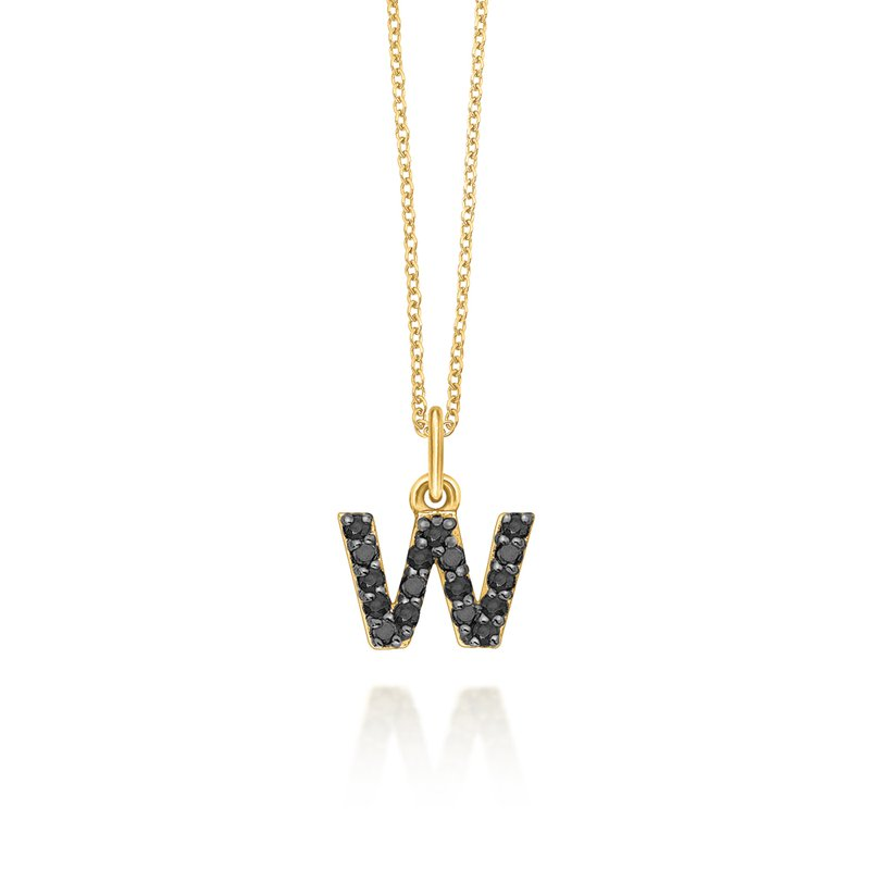 "KC Designs Black Diamond Baby Block Initial ""W"" Necklace"